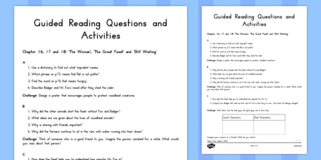 Guided Reading Questions Chapters 16, 17 and 18 to Support Teaching on Fantastic Mr Fox - australia