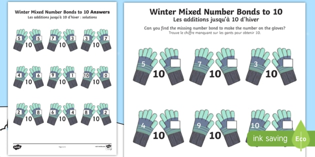 Winter Themed Mixed Number Bonds to 10 Worksheet / Activity
