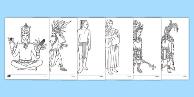 Mayan Colouring Pages - mayan, colouring sheet, colour, colouring, maya, civilisation