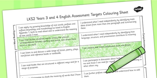 2014 Curriculum LKS2 Years 3 and 4 English Assessment Targets Colour