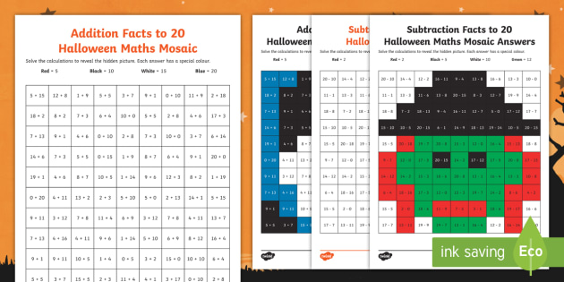new  ks halloween addition and subtraction facts up to  maths  new  ks halloween addition and subtraction facts up to  maths mosaics  worksheets
