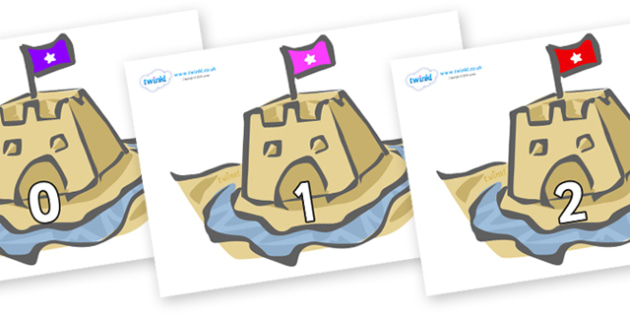 Numbers 0-31 on Sandcastles - 0-31, foundation stage numeracy, Number recognition, Number flashcards, counting, number frieze, Display numbers, number posters