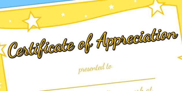 Certificate of Appreciation Certificate - awards, rewards, praise