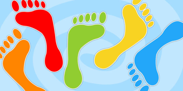 Multicolour Footprint Cut Outs -  multicolour footprints, cut outs, footprints, footprint cut outs, multicolour footprint cut outs, cut out footprints