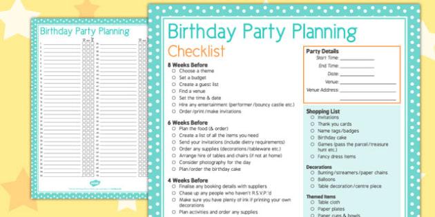 birthday party planning checklist pdf