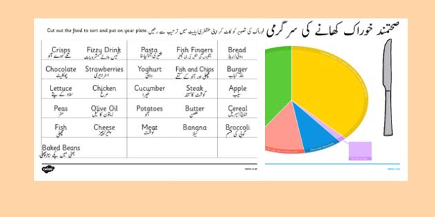 Healthy Eating Divided Plate Sorting Activity Urdu Translation - urdu, food groups sorting activity, healthy eating, healthy eating sorting activity, food groups, food sorting