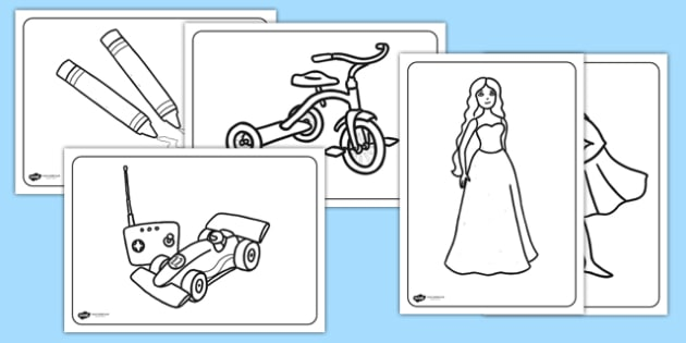 Toys Colouring Sheets - Toys, colouring poster, colouring, fine motor skills, activity, robot, doll, skateboard, games console, dice, jigsaw, games, dominos, marbles, pogo, Jack in the box, diabolo, jacks, pop gun, skittles, spinning top