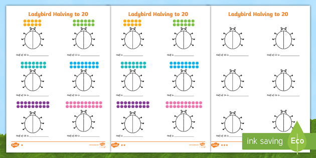 Differentiated Halving to 20 Ladybird Worksheet / Worksheets ...