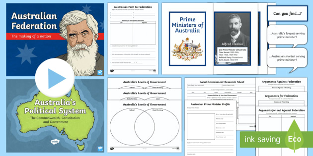 Australia's System of Law and Government Activity Pack  - Australia's System of Law & Government, father of federation, Australian federation, federation, He