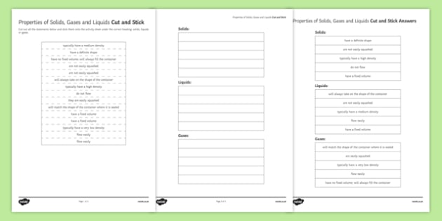 Comparing Properties of Solids, Liquids and Gases Cut and Stick Activity Sheet, worksheet, plenary activity