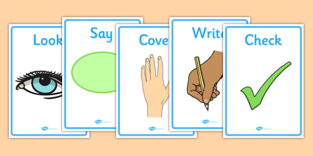 Look Say Cover Write Check Visual Aids - look, cover, write, check, visual aids, aid, prompt, eye, hand, checking, KS2, literacy
