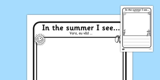 In the Summer I See Writing Frame Romanian Translation - romanian, in the summer, summer, seasons, writing frame, writing template, writing guide, writing aid, line guide, writing guide