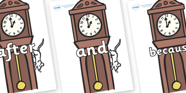 Connectives on Clocks - Connectives, VCOP, connective resources, connectives display words, connective displays