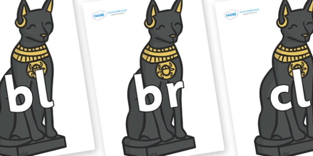 Initial Letter Blends on Egyptian Cats - Initial Letters, initial letter, letter blend, letter blends, consonant, consonants, digraph, trigraph, literacy, alphabet, letters, foundation stage literacy