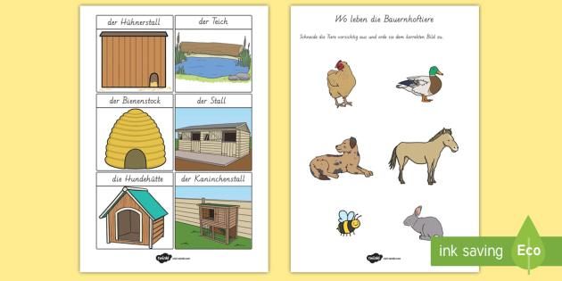 Wo leben die Bauernhoftiere? Arbeitsblatt: Erstes Schneiden un