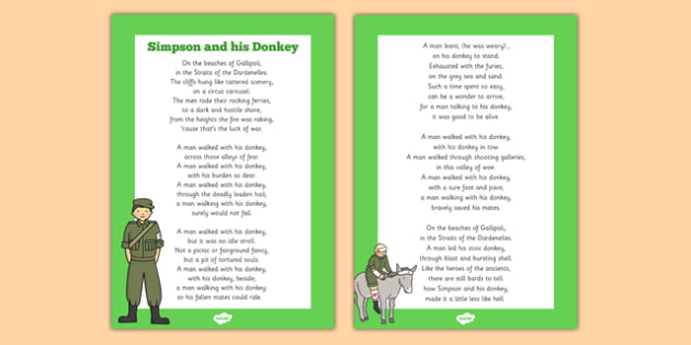 Simpson And His Donkey Poem - Simpson and His Donkey, donkey, Simpson, australian soldier, Jack, stretcher, wounded, soldiers, poem
