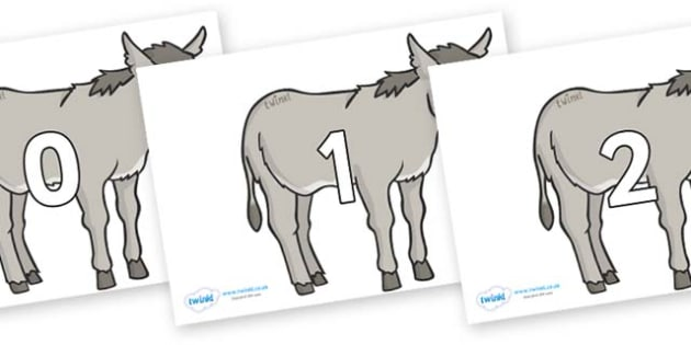 Numbers 0-100 on Donkeys - 0-100, foundation stage numeracy, Number recognition, Number flashcards, counting, number frieze, Display numbers, number posters