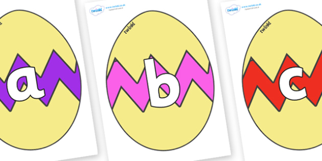 Phoneme Set on Easter Eggs (Cracked) - Phoneme set, phonemes, phoneme, Letters and Sounds, DfES, display, Phase 1, Phase 2, Phase 3, Phase 5, Foundation, Literacy