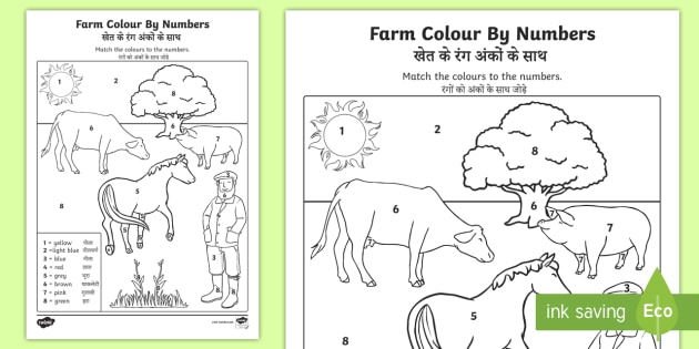 Farm Colour by Number Worksheet / Activity Sheet English/Hindi