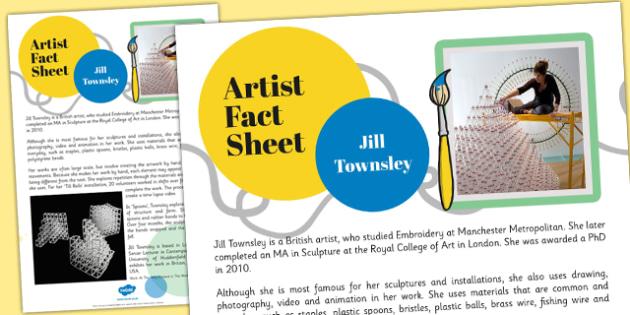 Artist Fact Sheet Jill Townsley - jill townsley, artist, fact