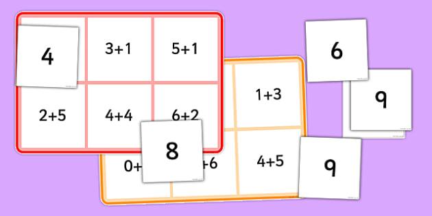 Addition Facts Bingo - addition, facts, bingo, game, activity