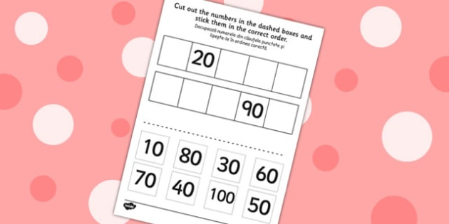 Counting in 10s Cut and Stick Worksheet Romanian Translation
