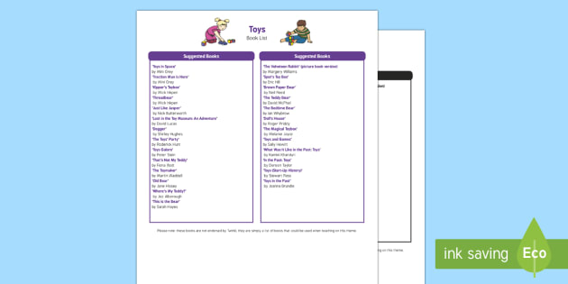 Toys Book List - EYFS, Early Years, KS1, Toys, teddy bear, doll, toy box, toy shop, book list
