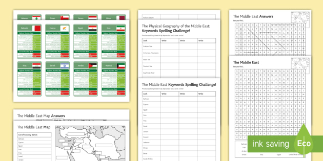 Middle East Map Activities.The Geography Of The Middle East Activity Pack The Middle