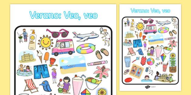 Verano: Veo, veo Summer-Themed I Spy With My Little Eye Activity Spanish - games, game, summertime, Timw