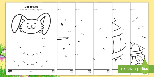 Easter Dot to Dot Activity Sheet - EYFS, Early Years, KS1, Easter, Easter Bunny, chicks, Easter eggs, number recognition, numbers to 10