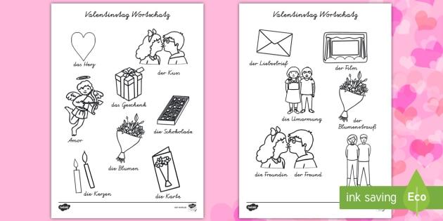 Valentinstag Wortschatz Mit Bildern Zum Ausmalen Arbeitsblättern    Valentinstag, Wortschatz, Vokabeln, Ausmalen,