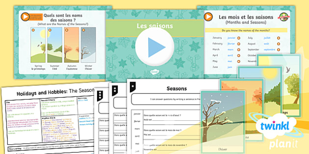 French: Holidays and Hobbies: The Seasons Year 4 Lesson Pack 1