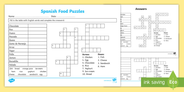 graphic about Printable Spanish Crossword Puzzle named Totally free! - Spanish Food stuff Fill Within and Crossword Worksheet