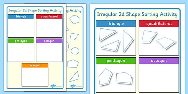 irregular 2d shape sorting activity 2d shape sorting. Black Bedroom Furniture Sets. Home Design Ideas