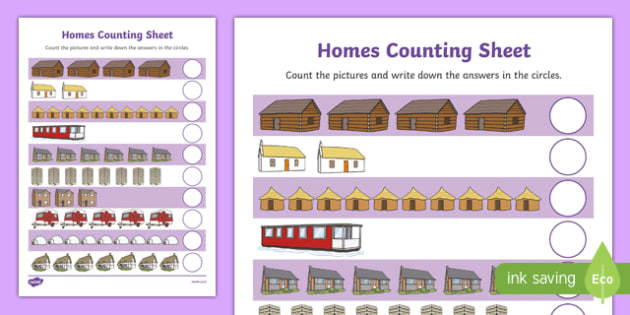 Houses and Homes Counting up to 10 Activity Sheet, worksheet
