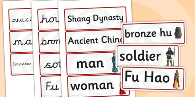 The Shang Dynasty Word Cards - shang dynasty, history, china