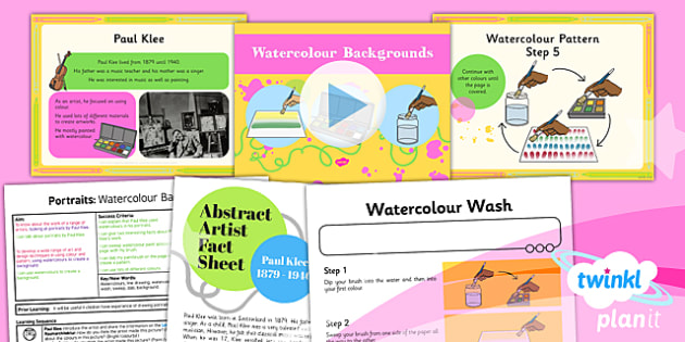 Art: Portraits: Watercolour Backgrounds KS1 Lesson Pack 4