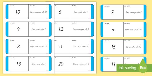 Zahlenreihenfolge Domino - Zahlen, Zählen, Einer, Zehner