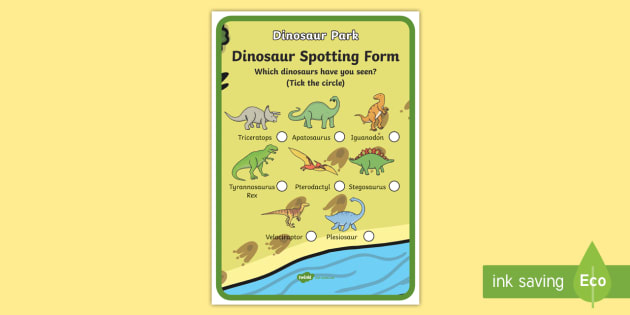 Dinosaur Spotting Form - Dinosaur themed, dinosaur spotting, dinosaur worksheet, dinosaur spotting form, dinosaur themed worksheets