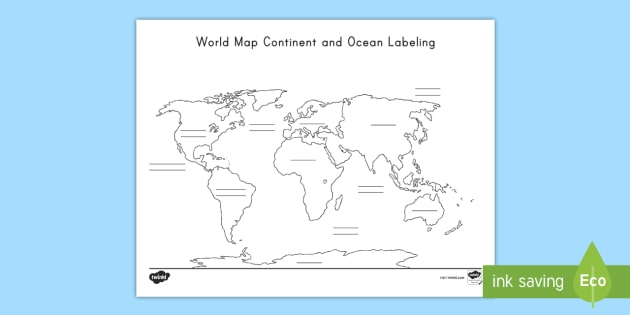 World Map Continent And Ocean Labeling Worksheet Globe Atlas North