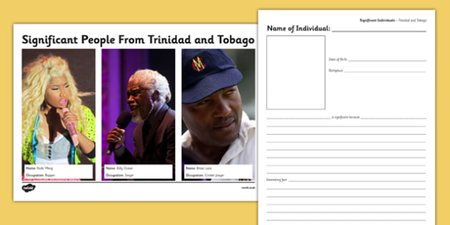 Trinidad and Tobago Significant People Information and Writing Frame - trinidad, tobago, significant