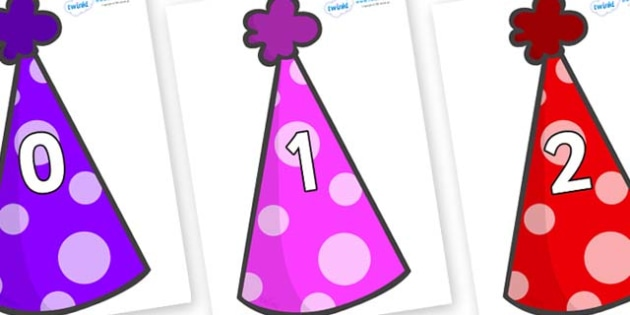 Numbers 0-100 on Party Hats - 0-100, foundation stage numeracy, Number recognition, Number flashcards, counting, number frieze, Display numbers, number posters