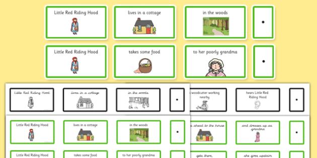 Little Red Riding Hood Sentence Building Cards - sentence, cards