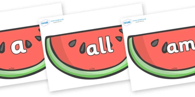 Foundation Stage 2 Keywords on Watermelons to Support Teaching on The Very Hungry Caterpillar - FS2, CLL, keywords, Communication language and literacy,  Display, Key words, high frequency words, foundation stage literacy, DfES Letters and Sounds, Le