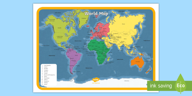 image relating to Printable World Map identified as KS1 Printable Earth Map