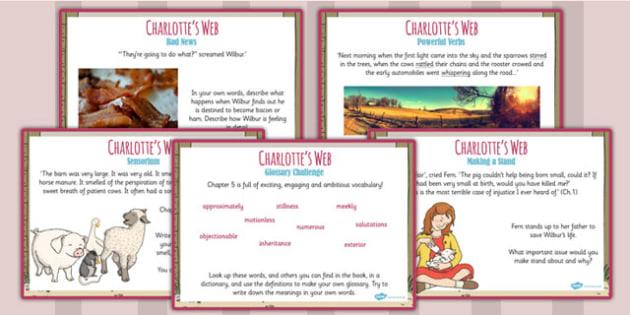 Charlotte's Web Challenge Posters - stories, KS2 story, display