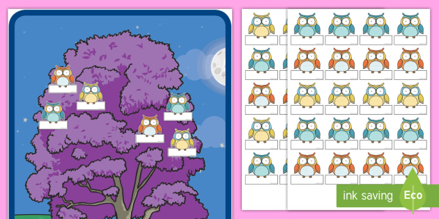 Owl Theme Editable Self-Registration - New Zealand Back to School, Owl theme, Self registration labels, Sign in board, name labels, Welcome