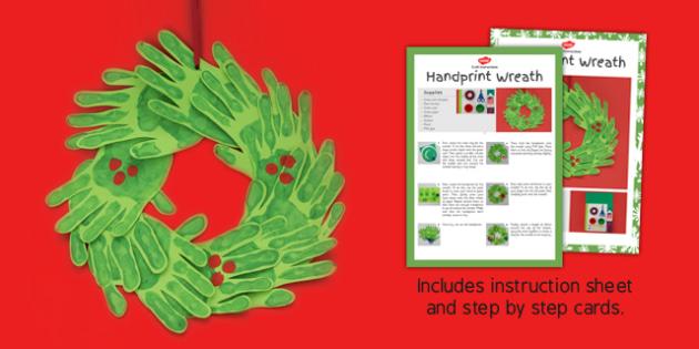 Handprint Wreath Craft Instructions - wreathes, hand print
