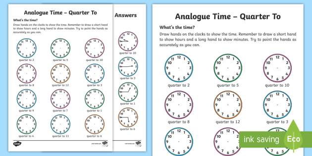 Analogue Time Quarter To Worksheet Worksheet Ni Ks1 Numeracy