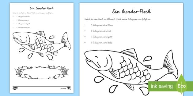 Cursive Ein bunter Fisch Arbeitsblatt: Erstes Zählen